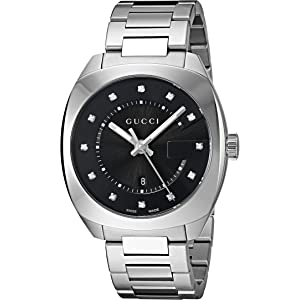 Gucci Swiss Quartz Stainless Steel Dress Silver-Toned Mens Watch(Model: YA142404)