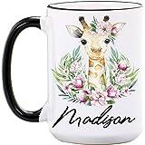 Giraffe Mug By Wimly – Personalized 15 oz or 11 oz Large Ceramic Mug – Cool Mugs – Cute Coffee Cups – Animal Mugs – Giraffe Gifts for Women – Dishwasher & Microwave Safe - Made In USA