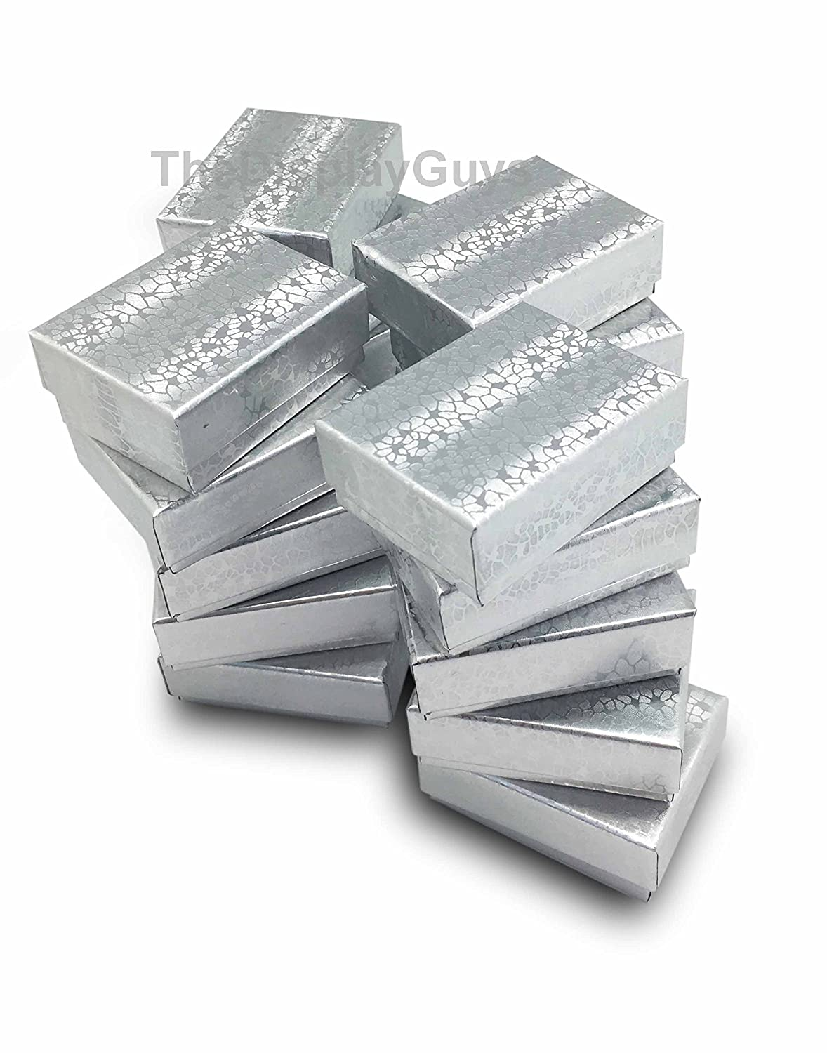 The Display Guys~ Pack of 100 Cotton Filled Cardboard Paper SILVER Jewelry Box Gift Case - Silver Foil (2 5/8x1 1/2x1 inches #21) JPI Display