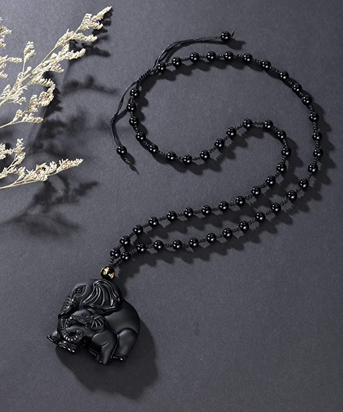 Natural Crystal Black Obsidian Necklace Pendant Stone Elephant Bead Chain Gift