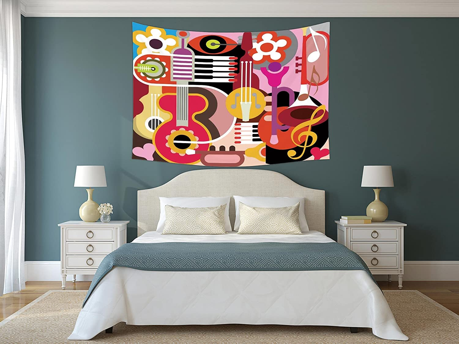iPrint Polyester Tapestry Wall Hanging,Music Decor,Complex ...