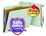 "Smead End Tab Pressboard Classification File Folder with SafeSHIELD Fasteners, 1 Divider, 2"" Expansion, Letter Size, Gray/Green, 10 per Box"