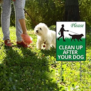 Fanboxk Yard Sign Clean Up After Your Dog,2 Pcs Clean Up After Your Pets 12