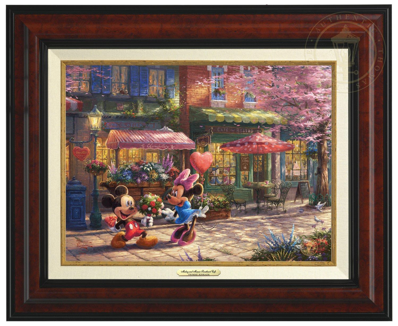 Thomas Kinkade Disney Mickey and Minnie Sweetheart Cafe 9'' x 12'' Canvas Classic (Burl)