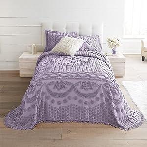 BrylaneHome Georgia Chenille Bedspread - Queen, Lavender Gray