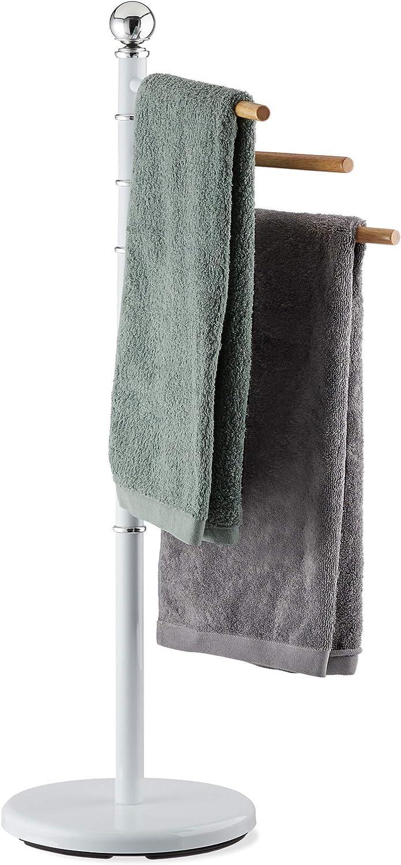acier 95 x 53 x 29 cm Support pour serviettes de bain 3 barres rotatives 360/° blanc Porte pied Relaxdays HxlxP: 95x53x29 cm bois plastique