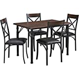 Dorel Living 5 Piece Dining Set, Espresso/Black