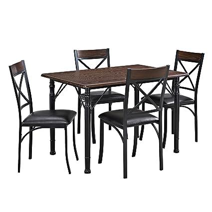 Mainstays 5 Piece Dining Set, Espresso / Black