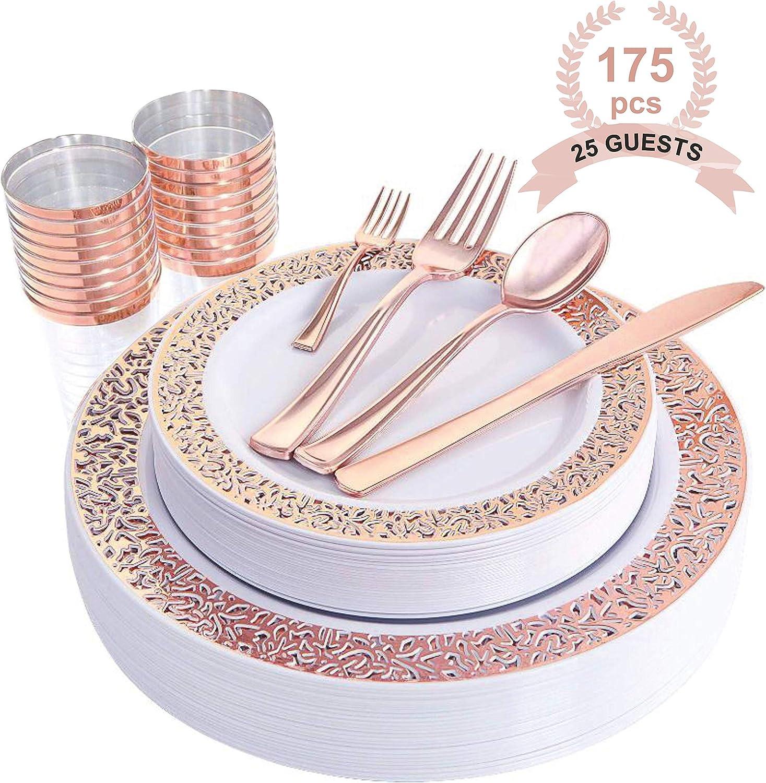 ADRISUN ROSEGOLD 175 pcs 25 Guest. Disposable tableware, Plastic Plates. Plastic Dinnerware include: Plastic Dinner Plates, Plastic Dessert Plates, Plastic Cups,Plastic Forks, Knife, Spoon+ Mini Fork