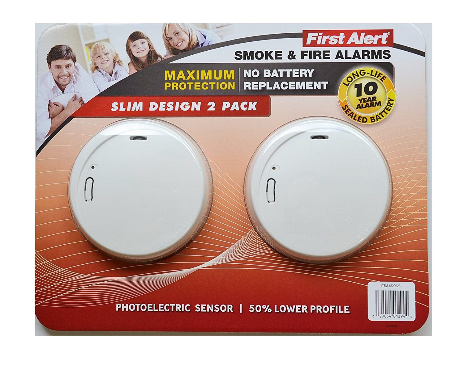 First Alert Smoke Fire Alarm Slim Design 2 pack 10 year long life sealed battery