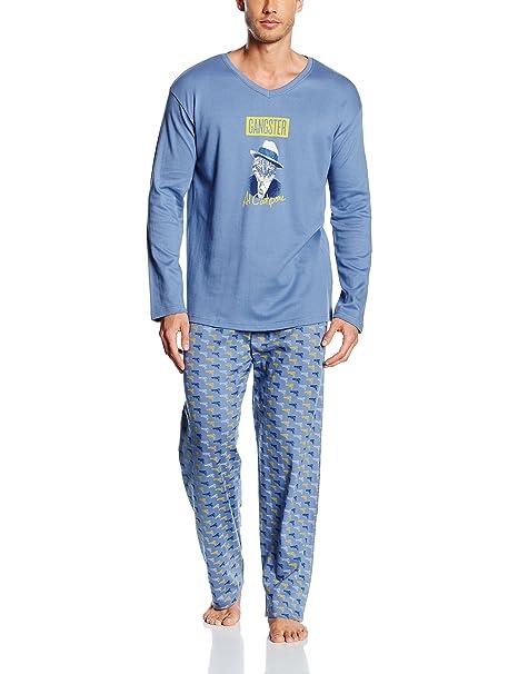 Arthur Pyjama Interlock, Ropa Interior de Deporte para Hombre, Azul, L