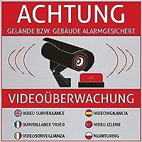 Lot de 6autocollants «Achtung Videoüberwachung», surveillance par caméra
