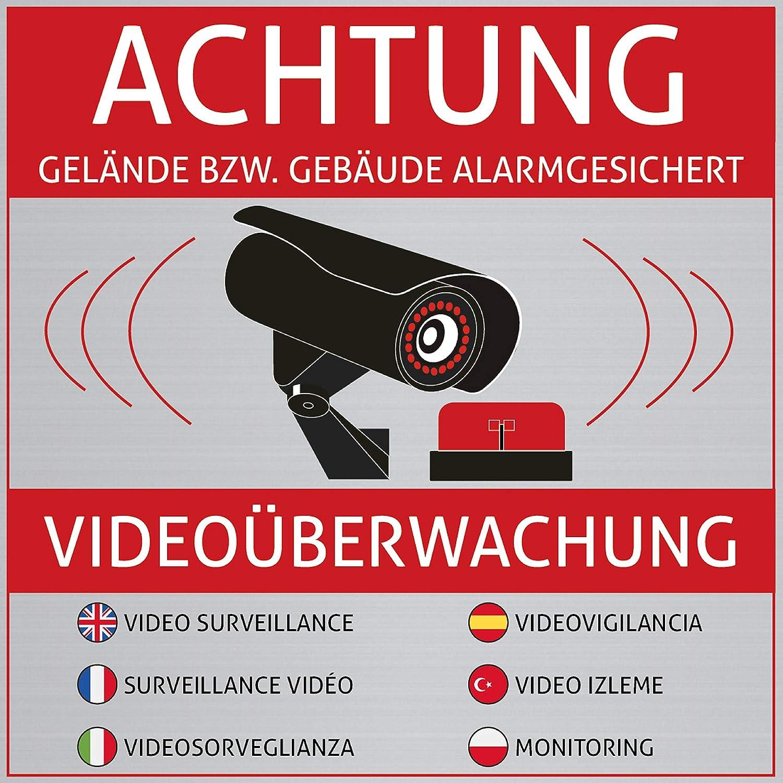 Lot de 6 autocollants « Achtung Videoüberwachung ...