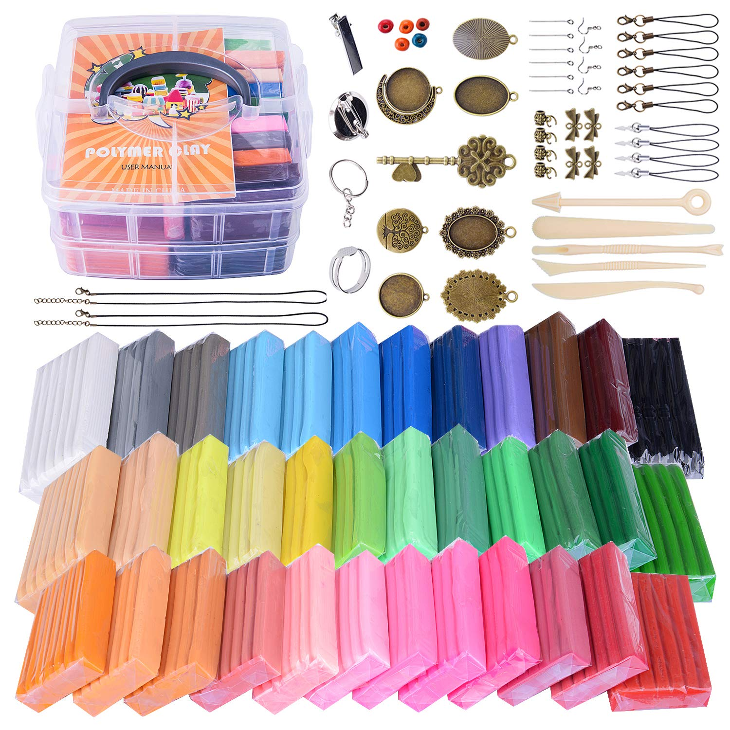 Polymer Clay Set, 36 Colors 1.4 oz/Block Oven Baking Clay Starter Kit with Plastic Tote, 5 Sculpting Tools and 51 Jewelry Findings, Safe Nontoxic DIY Clay Crafts Gift by GiftedMary (36 Colors)