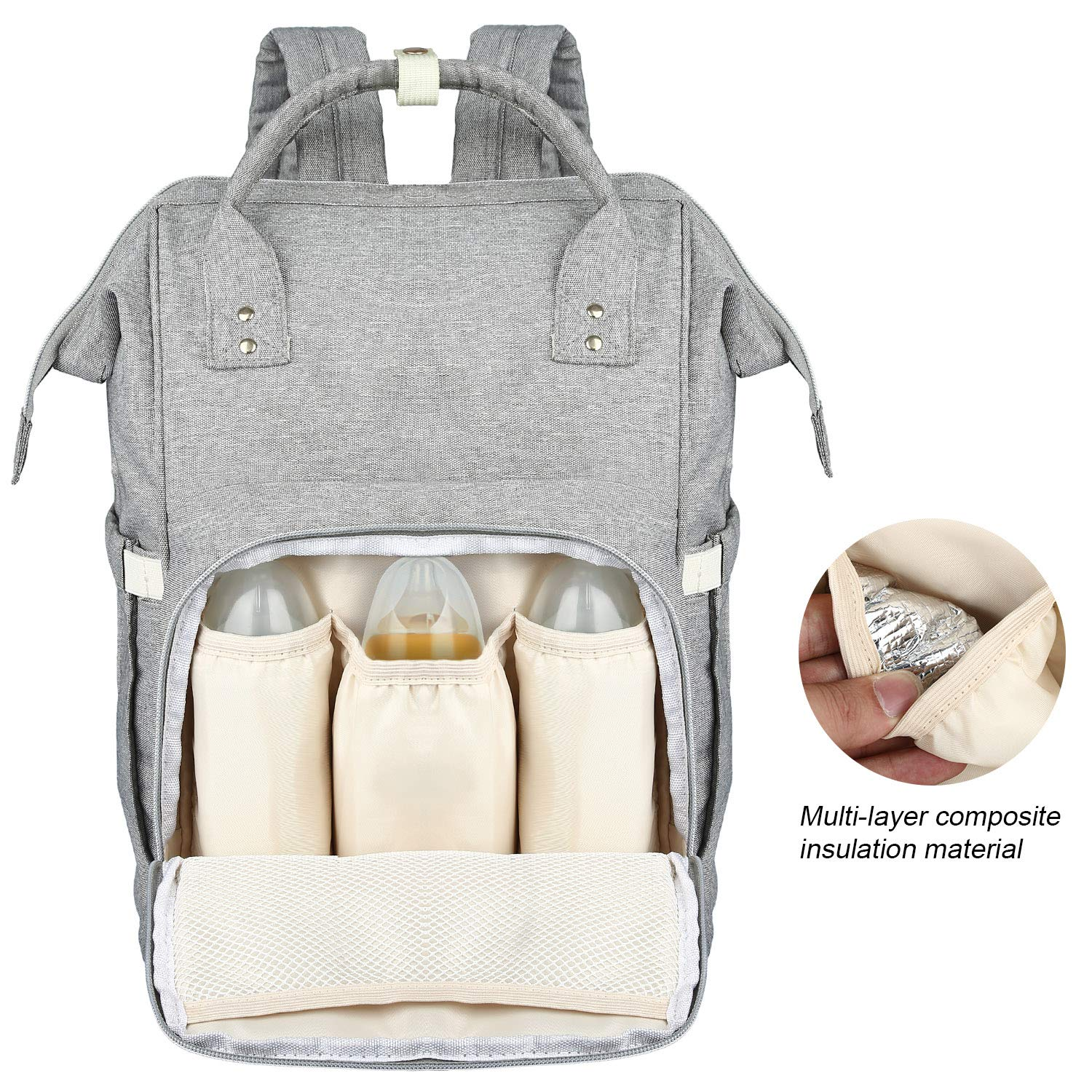 LONENESSL Diaper Bag Backpack Large Diaper Bag/Mommy Bag with Multiple Pockets and Extra Large Capacity, Stores up to 8 oz Bottles, Good for One Or Two Babies (Gray)