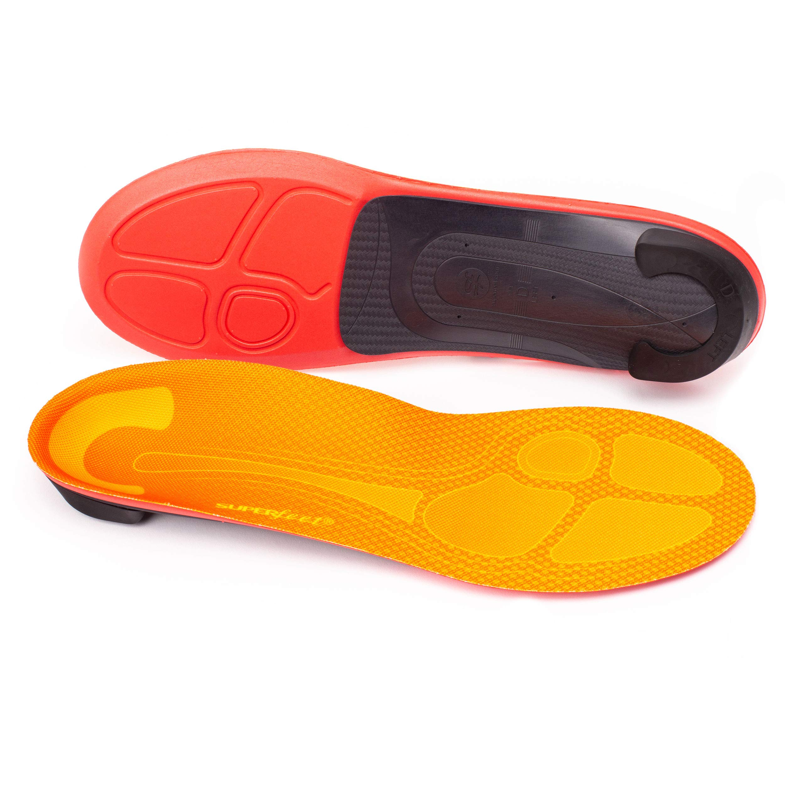 Superfeet Run Pain Relief Insoles, Customizable Heel Stability Professional-Grade Orthotic Insert for Maximum Support, Tangerine, D: 8.5-10 US Womens / 7.5-9 US Mens