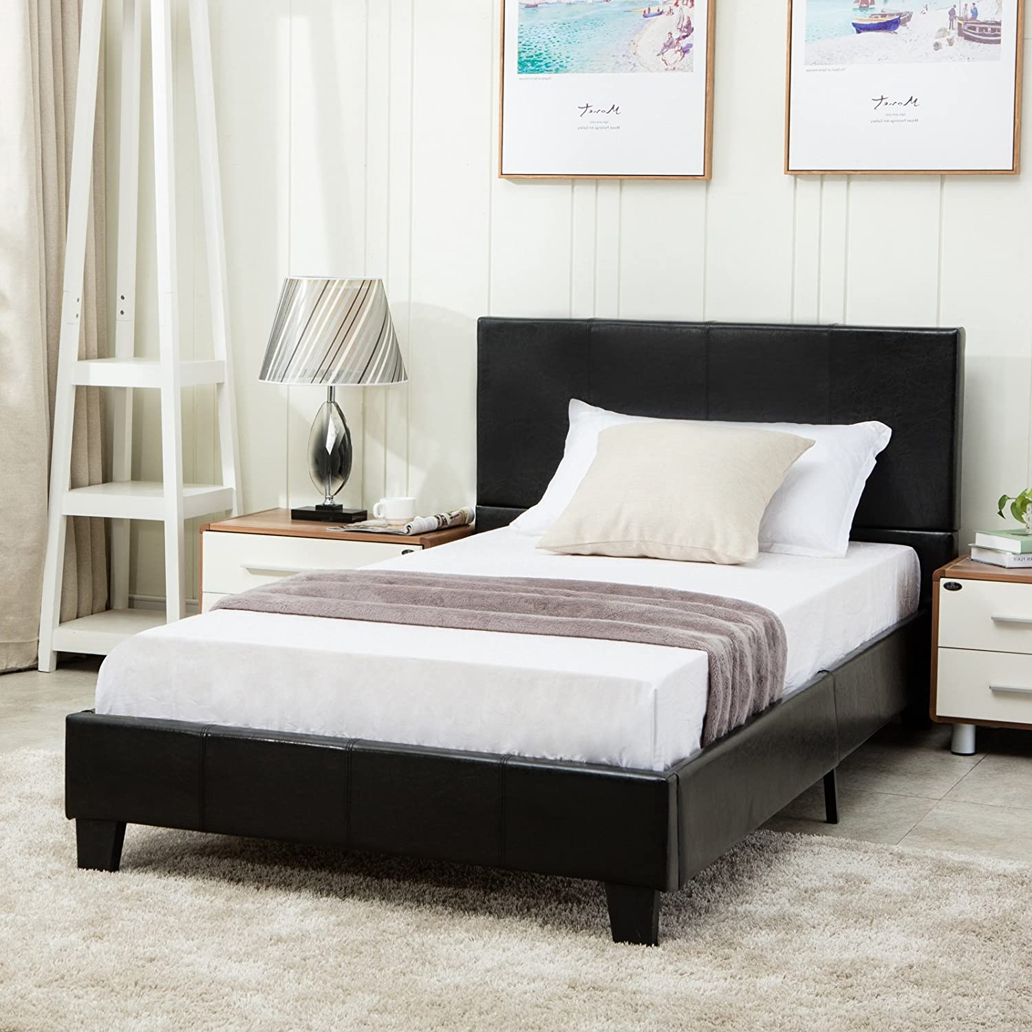Mecor Faux Leather Bonded Platform Bed Frame Upholstered Panel Bed Full Size,No Box Spring Needed,for Adults Teens Children,Black Full