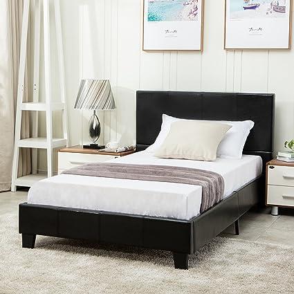 Full Size Bed Frame.Mecor Faux Leather Bonded Platform Bed Frame Upholstered Panel Bed Full Size No Box Spring Needed For Adults Teens Children Black Full