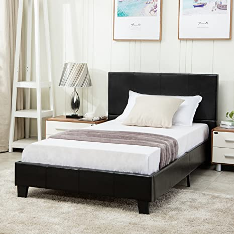 Fine Mecor Faux Leather Bonded Platform Bed Frame Upholstered Panel Bed Full Size No Box Spring Needed For Adults Teens Children Black Full Creativecarmelina Interior Chair Design Creativecarmelinacom