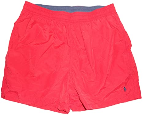 Men\u0027s Polo by Ralph Lauren Swimming Trunks Bathing Suit Red with Navy Pony  (Small)