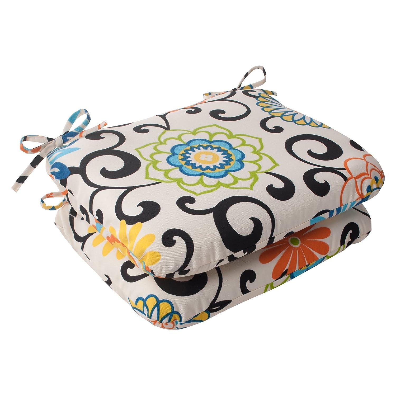 Pillow Perfect Indoor Outdoor Risa Squared Seat Cushion, Lemonade, Set of 2