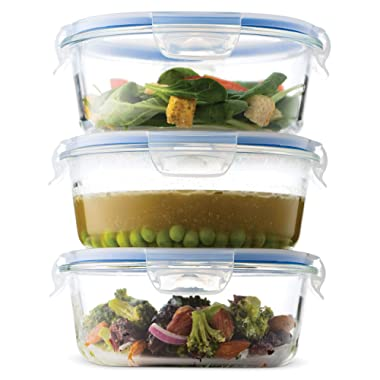 Superior Glass Round Meal Prep Containers -3pk (32oz) BPA-free Airtight Food Storage Containers with 100% Leak Proof Locking Lids, Freezer to Oven Safe Great on-the-go Portion Control Lunch Containers