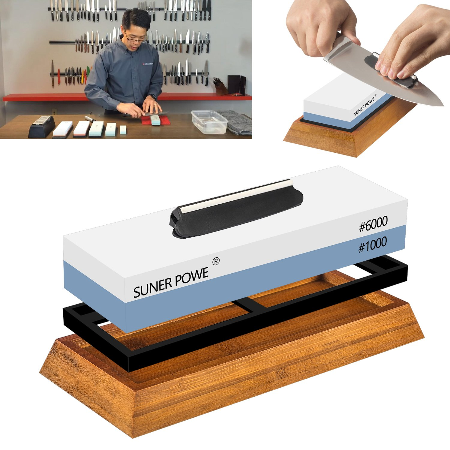 SUNER POWER KSS01 Professional Dual 1000/6000 Japanese Grit Whetstone-Knife Sharpening Stone Kit Included Non-Slip Bamboo Base and Angle Guide-Perfe, Large, White-Blue