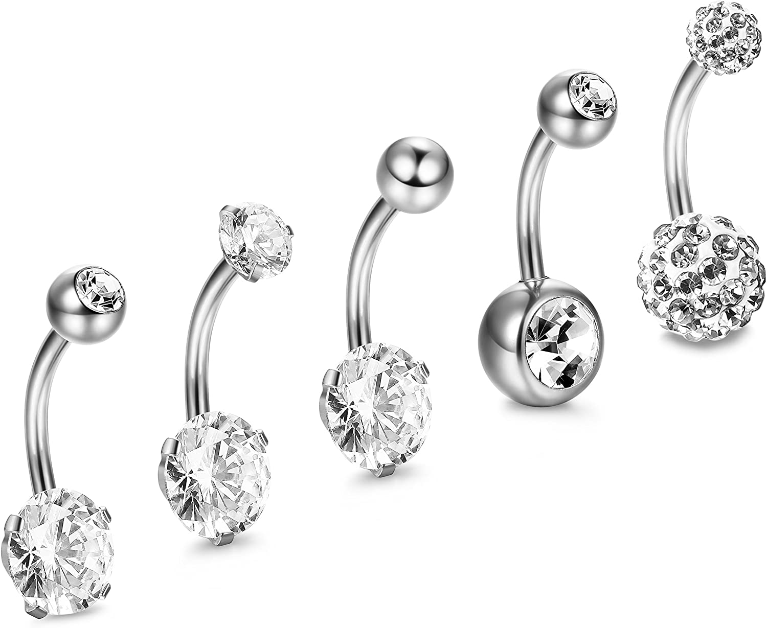 16Pcs Belly Button Rings for Women Screw Navel Barbell Studs Body Jewelry