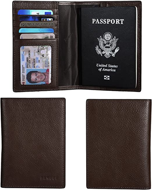 Banuce Italian Leather Passport Cover Card Holder Travel Wallet Color Green