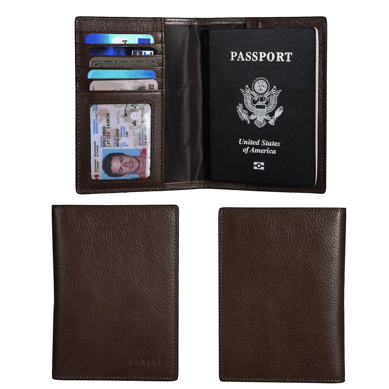 Banuce Italian Leather Passport Cover Card Holder Travel Wallet RTJRPW035-SGK