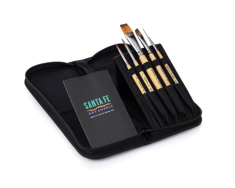 Santa Fe Art Supply Set da viaggio per il miglior pennello dell'artista di qualità Set di pennelli per manici a breve manico in acrilico per acquerello e viso. Bambù! Il più venduto #1 Santa Fe Art SupplyTM