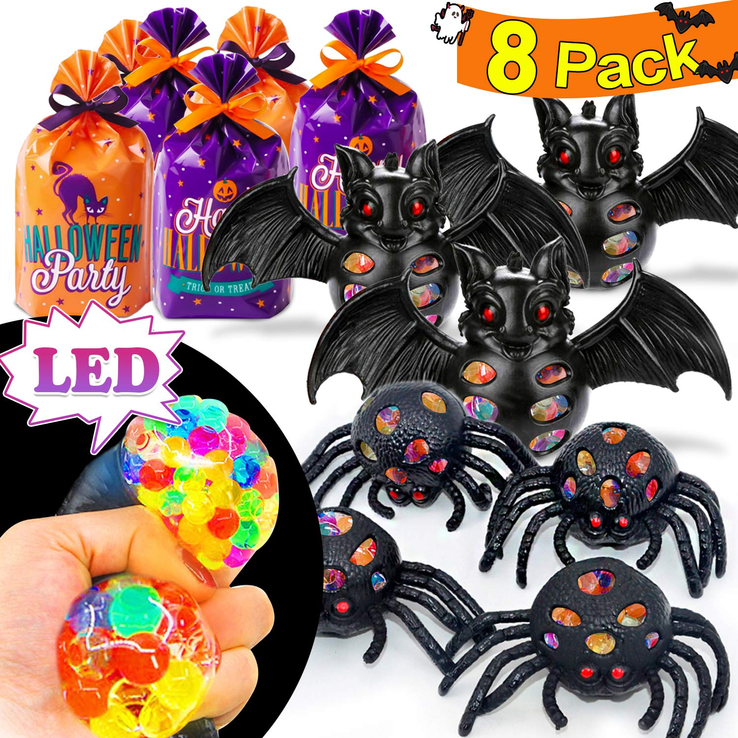 Halloween LED Spider Toy Ball, 8 Pack Mesh Grap Stress Relief Ball Halloween Kids Party Favor Trick Or Treat Goodie Bags Scary Black Spider Bat Sensory Ball LED Stress Ball Halloween Decoration by iGeeKid