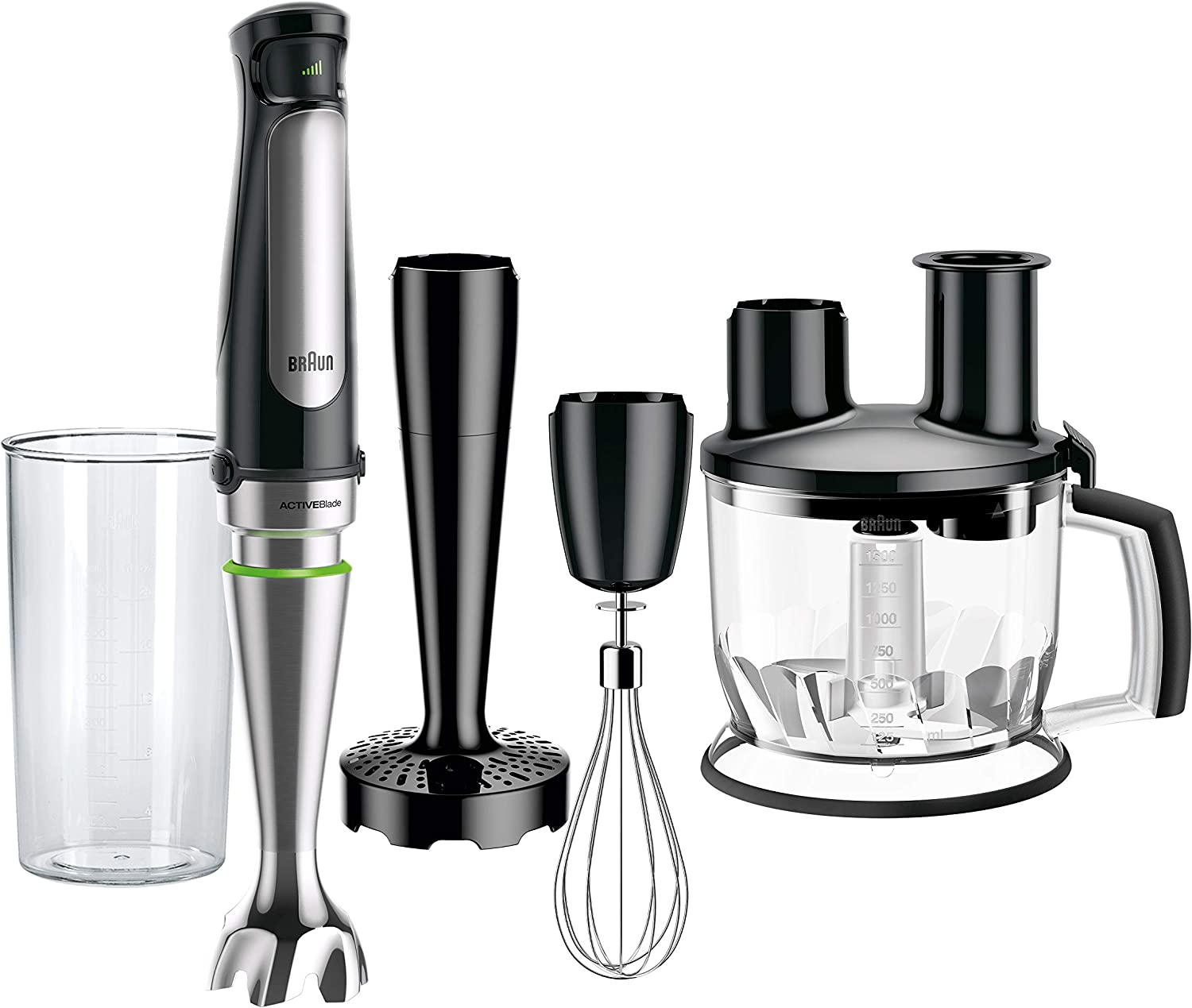 Braun MultiQuick MQ7077 4-in-1 Immersion Hand, Powerful 500W Stainless Steel Stick Blender, Variable Speed + 6-Cup Food Processor, Whisk, Beaker, Masher, Faster Blend