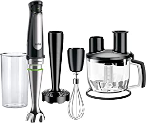 Braun MQ7077X 4-in-1 Immersion Hand, Powerful 500W Stainless Steel Stick Blender Variable Speed + 6-Cup Food Processor, Whisk, Beaker, Masher, High Quality Faster, Finer Blending, MultiQuick