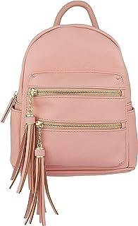 a75e3e8822e B BRENTANO Vegan Multi-Zipper Top Handle Mini Backpack with Tassel Accents