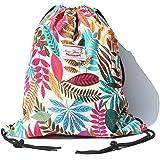 Alpaca Go Drawstring Bag Water Resistant Floral Leaf Lightweight Gym Sackpack for Hiking Yoga Gym Swimming Travel Beach