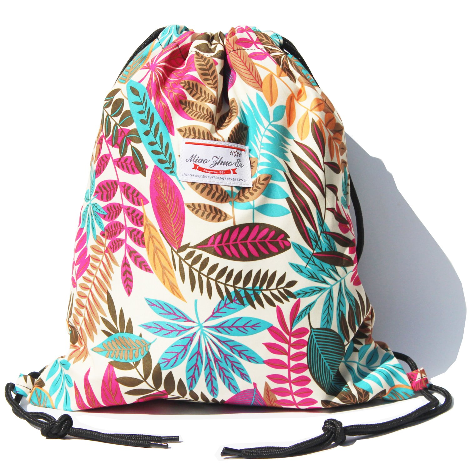 Alpaca Go Drawstring Bag Water Resistant Floral Leaf Lightweight Gym Sackpack for Hiking Yoga Gym Swimming Travel Beach (A - White)
