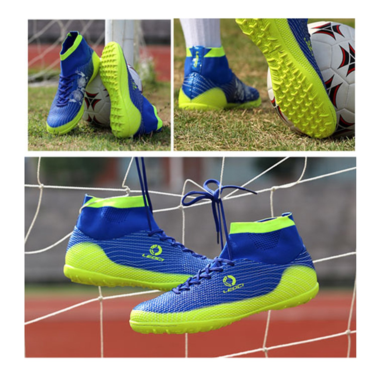 Indoor Outdoor Soccer Shoes Athletic Turf Mundial Team Cleat Football Boots Running Sports Lightweight Breathable Anti-Skid Damping Shoes for Men and Kids BADIER