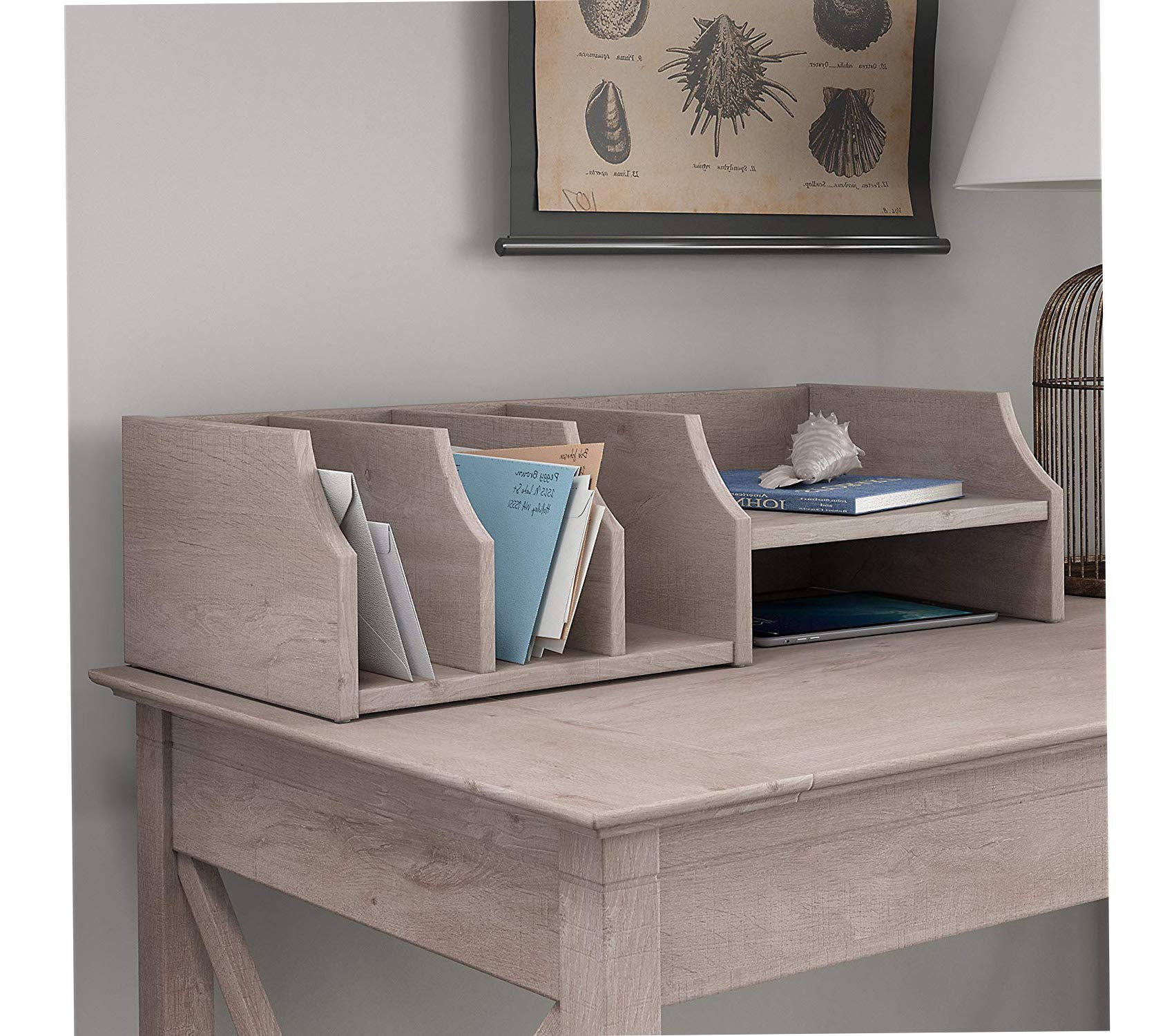 Wood & Style West Desktop Organizer in Washed Gray Decor Comfy Living Furniture Deluxe Premium Collection