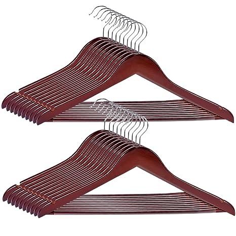 Amazon.com: percha de ropa de madera sólida, royalhanger 20 ...