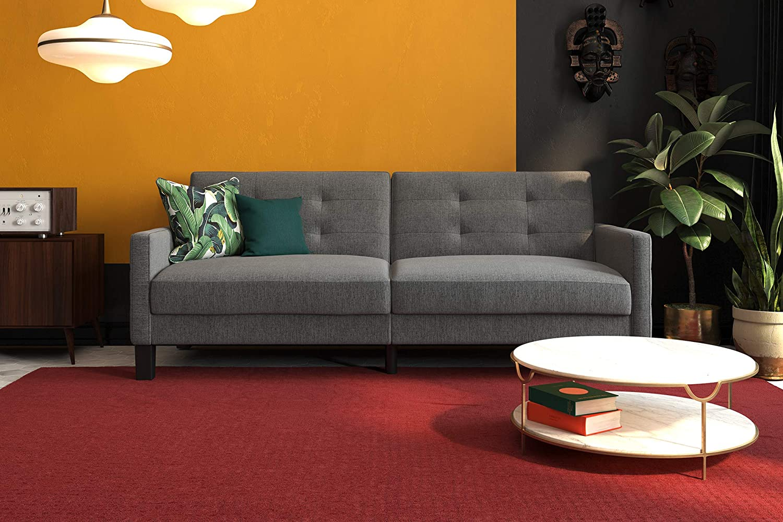 Prime Amazon Com Dhp Miller Futon Gray Linen Kitchen Dining Andrewgaddart Wooden Chair Designs For Living Room Andrewgaddartcom