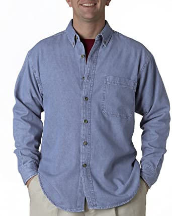4cdcd0cd69d UltraClub Mens Cypress Long-Sleeve Denim Shirt with Pocket. 8960 - X-Large