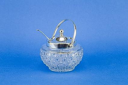 Chapado en plata de cristal de corte para condimentos (cuchara salsa mostaza Mid-Century