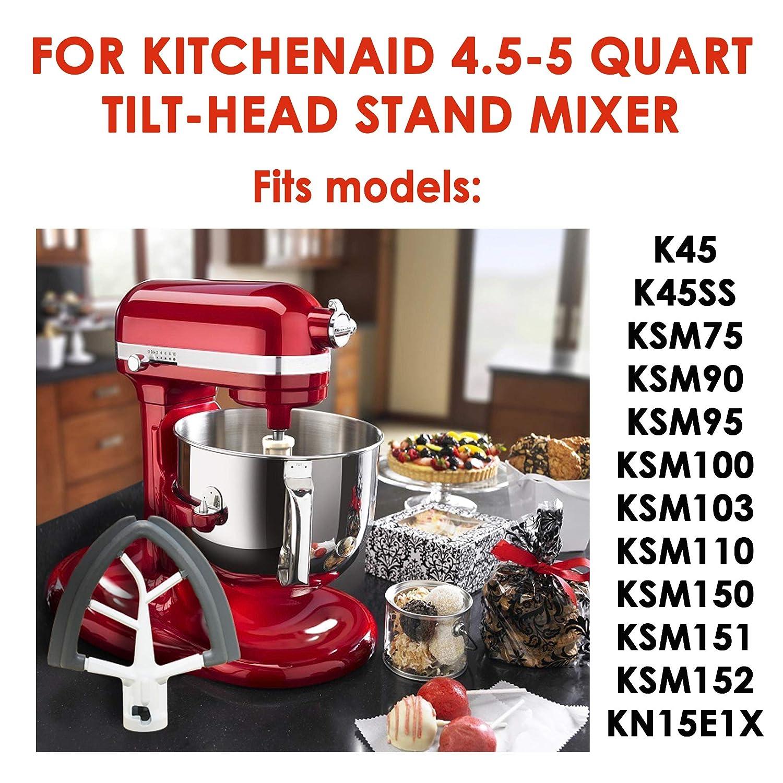 Kitchenaid Mixer Attachments for 4.5-5 Quart KitchenAid Tilt Head Stand Mixers White Flex Edge Beater with Scraper