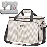 HOMEST Sewing Machine Carrying Case with Multiple Storage Pockets, Universal Tote Bag with Shoulder Strap Compatible with Mos