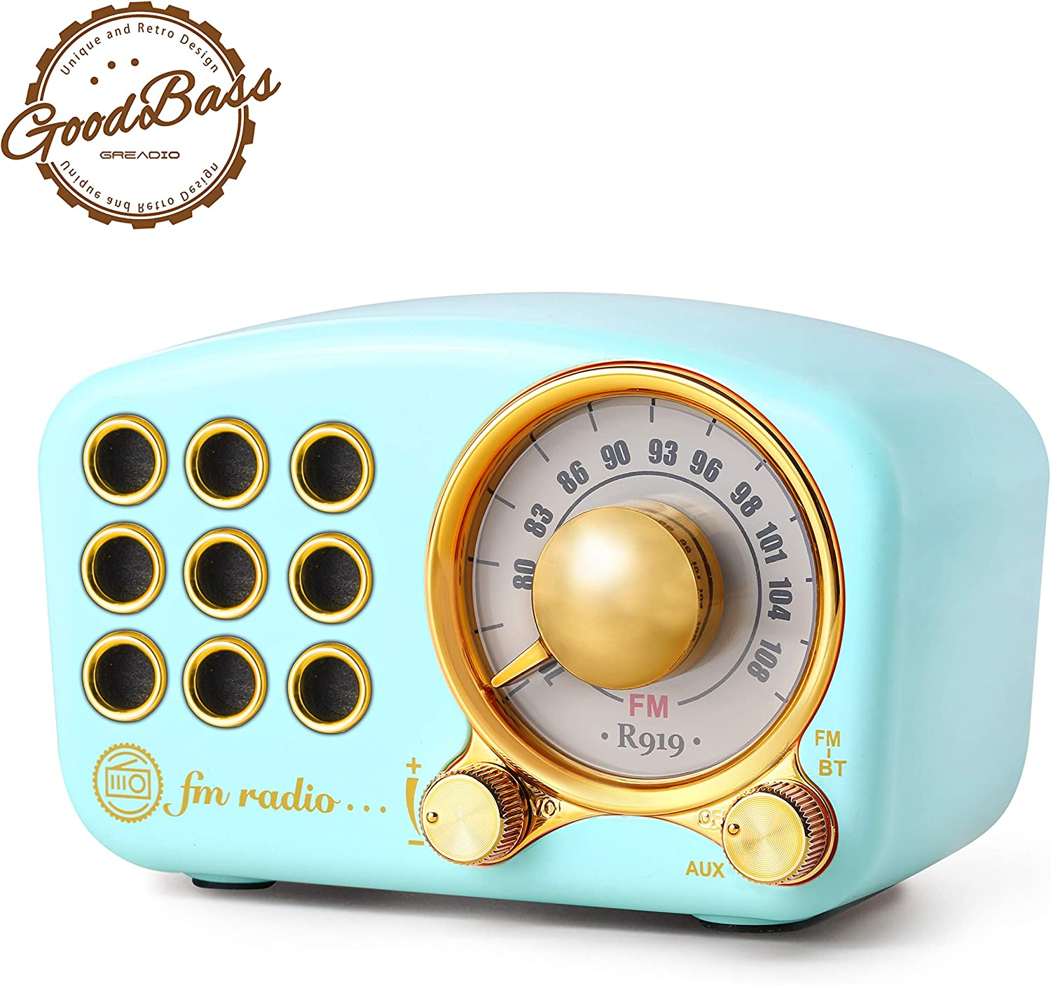 Retro Bluetooth Speaker, Vintage Radio-Greadio FM Radio with Old Fashioned Classic Style, Strong Bass Enhancement, Loud Volume, Bluetooth 4.2 Wireless Connection, TF Card and MP3 Player (Blue)