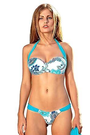 7497d4a0bb Maillot de Bain Femme Tanga Bikini brésilien - Janeiro Bleu Blanc (Bas: 36/