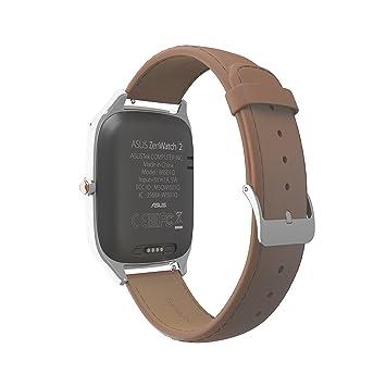 Asus Zenwatch 2 WI501Q-1LCML0002 (4,1 cm (1,63 in), Qualcomm Snapdragon, 320 x 320 píxeles, Android, Amoled, 4 GB, correa de cuero, carga rápida) plateado ...