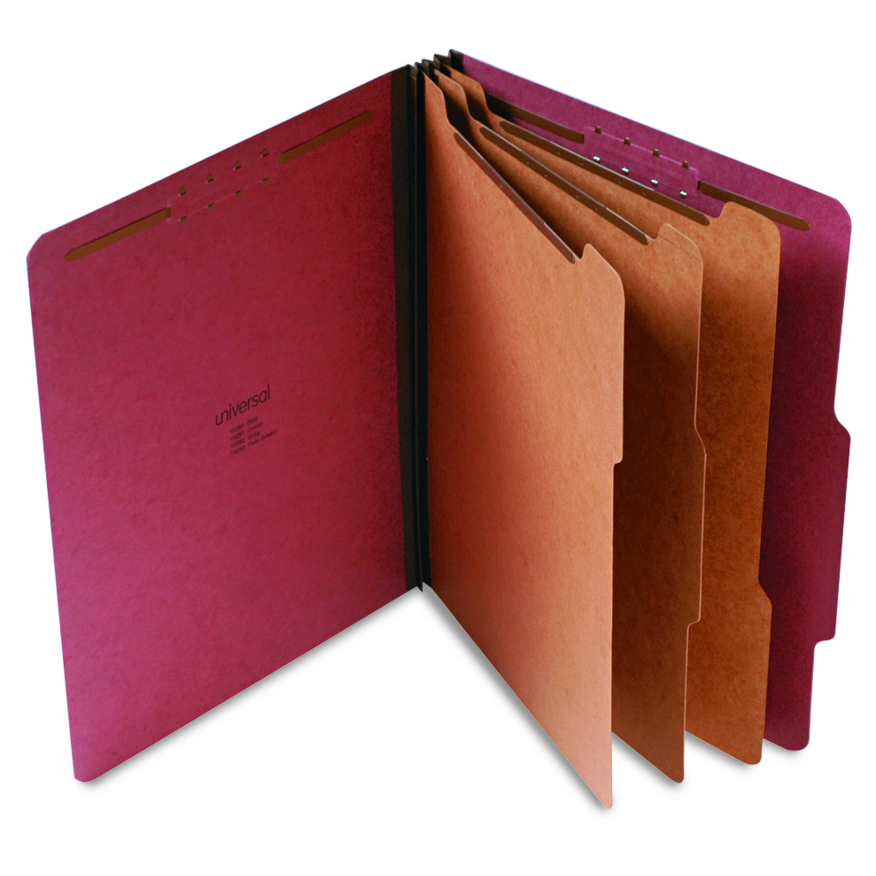 Universal 10290 Pressboard Classification Folder, Letter, Eight-Section, Red (Box of 10) by Universal