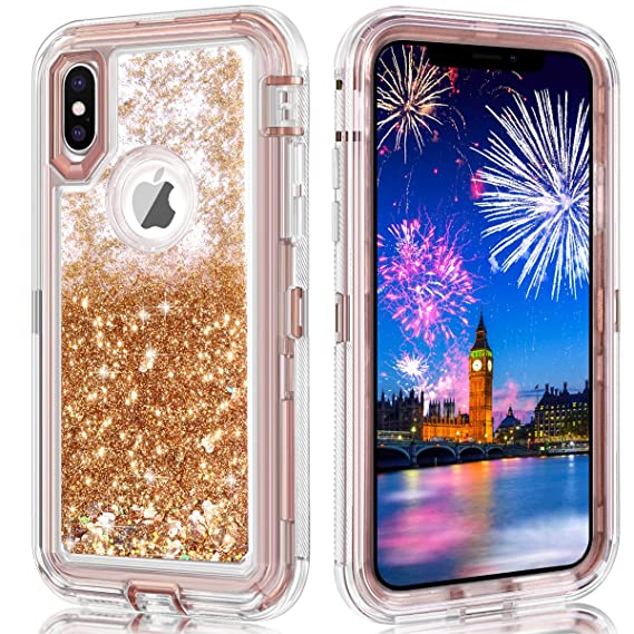 new style f8226 03c0c iPhone X Case,iPhone 10 Case,Wollony 360 Full Body Shockproof Liquid  Glitter Quicksand Bling Case Heavy Duty Phone Bumper Soft Non-Slip Clear  Rubber ...